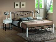 pat metalic cu insertii de lemn