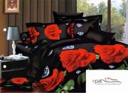 lenjerie de pat neagra cu trandafiri rosii