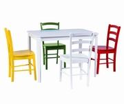 set masa cu scaune colorate bucatarie